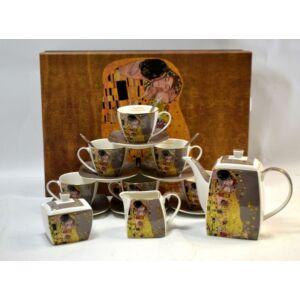 Porcelán teáskészlet Klimt Kiss 6 személyes