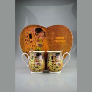 Porcelán bögre+kanál 2x350ml Klimt szürke
