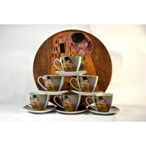 Porcelán teáskészlet 6 személyes Klimt Kiss gray