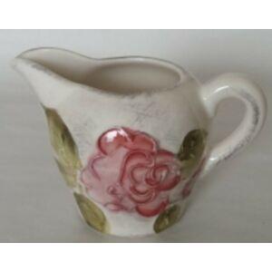 Kerámia tejkiöntő virágos bordó rózsás - kézzel festett domború mintás