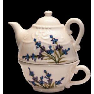 Kerámai Kiskanna csészével Levendula - kézzel festett - romantikus egy személyes teás szett