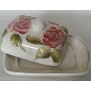 Kerámia vajtartó virágos bordó rózsás - kézzel festett domború mintás