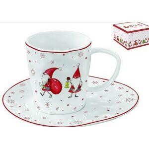 Porceláncsésze+alj 250ml dobozban, Christmas Gnomes