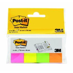 Jelölőcímke 3M POSTIT papír 4x50 lap 20x38mm neon vegyes Irodai kiegészítők