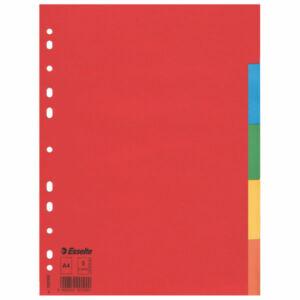 Regiszter elválasztó Esselte ECONOMY karton 5részes A4 színes Esselte 20db rendelési egység ár 1db-r