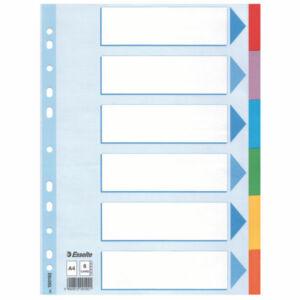 Regiszter elválasztó Esselte STANDARD karton 6részes A4 színes Esselte 20db rendelési egység ár 1db-r