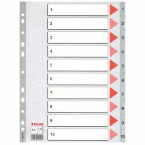 Regiszter Esselte 1-10 műanyag 1-10 A4 Esselte 10db rendelési egység ár 1db-ra