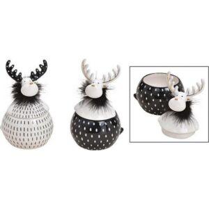 Rénszarvas porcelán 20 fekete-fehér 10x17x10cm