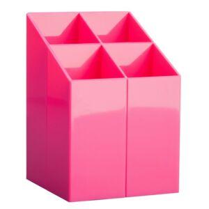 Írószertartó asztali ICO Pen Holder transzparens pink rekeszes írószertartó, asztali írószerta