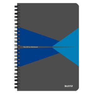 Spirálfüzet A5 Office PP borítóval A5 kockás kék LEITZ 90 lapos.