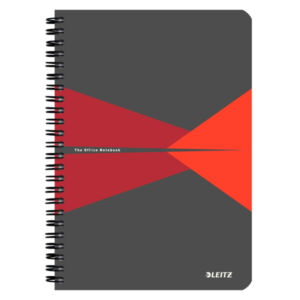 Spirálfüzet A5 Office PP borítóval A5 kockás piros LEITZ 90 lapos.
