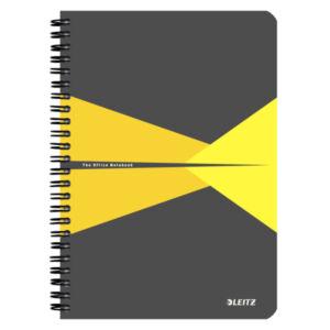Spirálfüzet A5 Office PP borítóval A5 kockás sárga LEITZ 90 lapos.