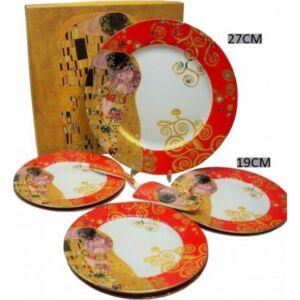 Süteményes szett porcelán 7 részes, Klimt Kiss piros