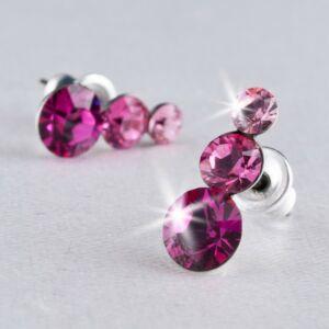 Swarovski fülbevaló Hölgyeknek 3 kristályos, rózsaszín, 12mm MADE WITH SWAROVSKI ELEMENTS