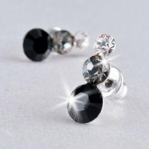 Swarovski fülbevaló Hölgyeknek 3 kristályos, fekete, 12mm MADE WITH SWAROVSKI ELEMENTS