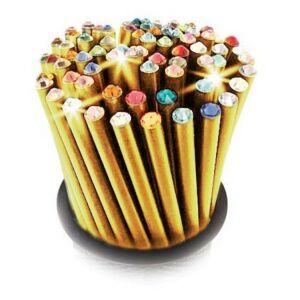 Swarovski ceruza arany testű 2 Pink Kristállyal Made With Swarovski Elements