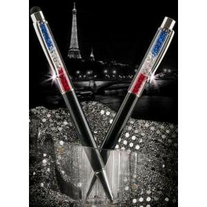 Swarovski toll C. fekete testű Kék-Fehér-Piros Kristály Tölt. Gravírozh Made With Swarovski Elements