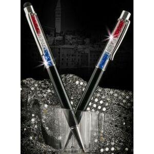 Swarovski toll C. fekete testű Piros-Fehér-Kék Kristály Tölt. Gravírozh Made With Swarovski Elements