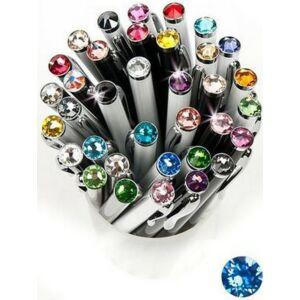 Swarovski toll E. fekete testű Zafírkék Kristály Gravírozható Made With Swarovski Elements