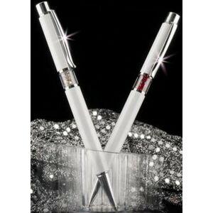 Swarovski toll fehér testű 20 Középen Ezüst Kristály Tölt. Gravírozhat Made With Swarovski Elements
