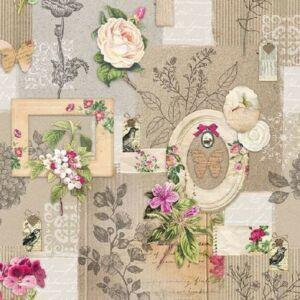 Szalvéta Frames and Flowers 33x33cm, 3 rétegű, 20lap/csomag 13309910 szalvéta.