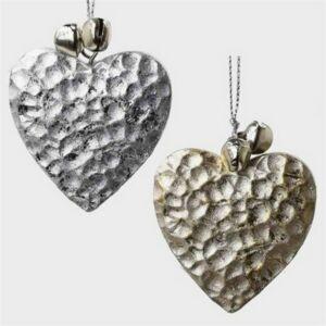 Szív akasztós 20' fém 4, 8X5,5cm arany, ezüst