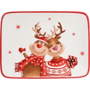 Tálca karácsonyi 20x15cm karácsonyi mintás rénszarvas reggeliző