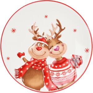 Tányér karácsonyi 20cm rénszarvas mintával kerámia