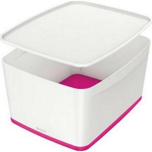 TároLó doboz fedővel nagy LEITZ MyBox fehér-rózsaszín