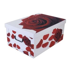 Tárolódoboz mini 33x25x16 cm vörös rózsa