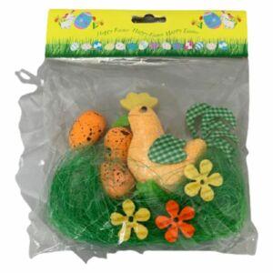 Tavaszi dekor csibe húsvéti dekor szettel szett tartalma: 3-3db virág-tojás+műfű