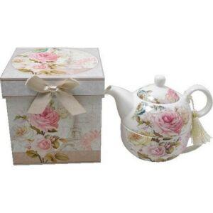 Tea kiöntő porcelán fedeles kiöntő díszdobozban Párizs témájú virágminás porcelán
