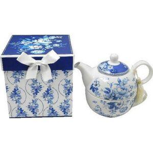 Tea kiöntő porcelán fedeles kiöntő díszdobozban Kék-halvány kék virágminás porcelán