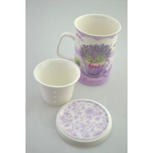 Bögre teás Levendulás 320ml-es levendula mintás porcelán bögre + szűrő + tető