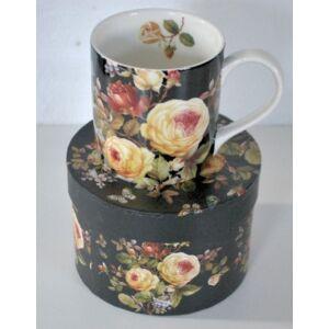 Bögre teás rózsás 350ml 8,5x9cm finom porcelán