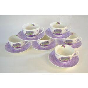 teáskészlet 6 db-os Levendulás levendula mintás 6-6db csésze+csészealj finom porcelán