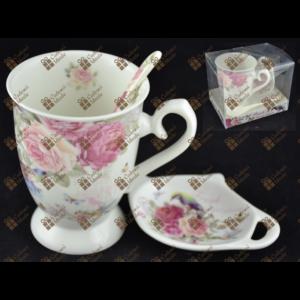 teáskészlet kerámia Rózsás 1-1db teáscsésze+csészealj+ kanál Fresh Beautiful Flowers