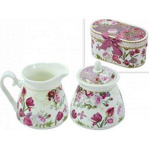 Kerámia szett tejkiöntő+cukor (2db-os porcelán szett) díszdobozban Rózsaszín-fehér virágminás porcelán