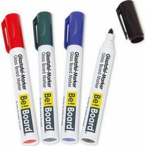 Marker üvegtábla Be!Board 2-3mm kerek hegyű 4színű szett