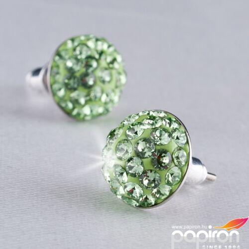 Swarovski fülbevaló Hölgyeknek sok kristályos félgömb, peridot zöld, 10 MADE WITH SWAROVSKI ELEMENTS
