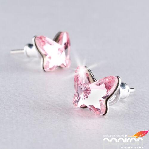Swarovski fülbevaló Hölgyeknek pillangó, rózsaszín 8mm MADE WITH SWAROVSKI ELEMENTS