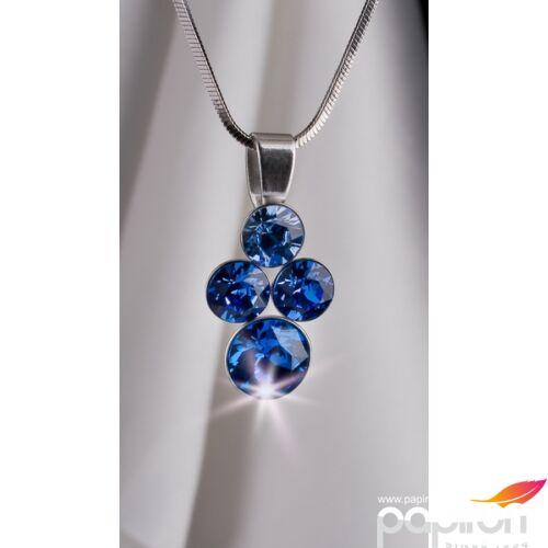 Swarovski nyaklánc hölgyeknek 4 kristályos medállal, kék színátmenetes MADE WITH SWAROVSKI ELEMENTS