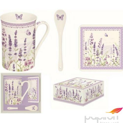 Bögre porcelán 250ml kanállal, parafa poháralátéttel dobozban Lavender Field
