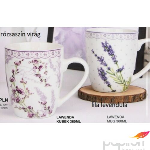 Bögre porcelán 340ml Lawenda-levendulás