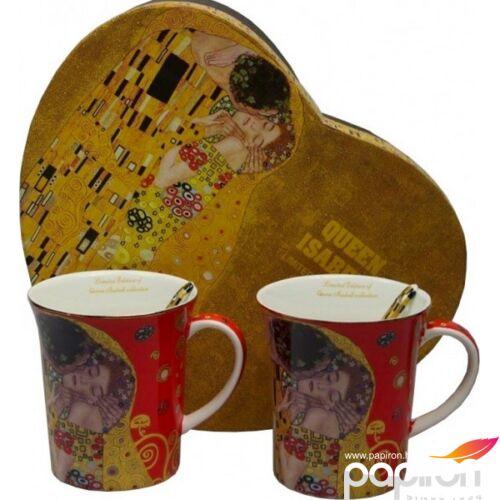 Bögre porcelán Klimt 350ml szett, csók, piros