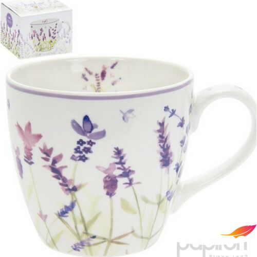 Bögre porcelán levendulás 13x10cm, Lavender-levendulás