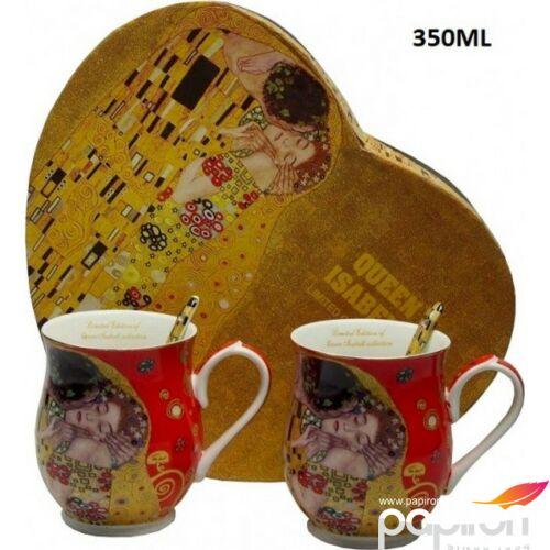 Bögre+kanál porcelán Klimt 2db-os, piros csupor