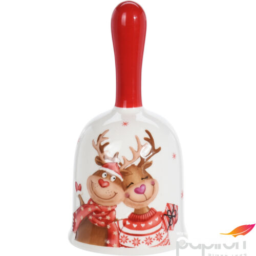 Csengő karácsonyi 7x13cm rénszarvas mintával kerámia