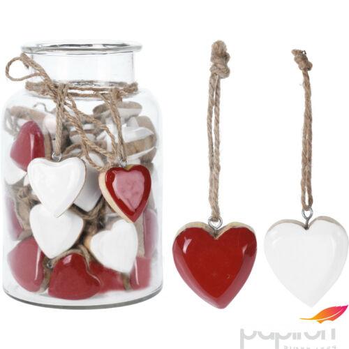 Fa szív piros dekoráció 20' piros/ fehér mangófából kézzel festett