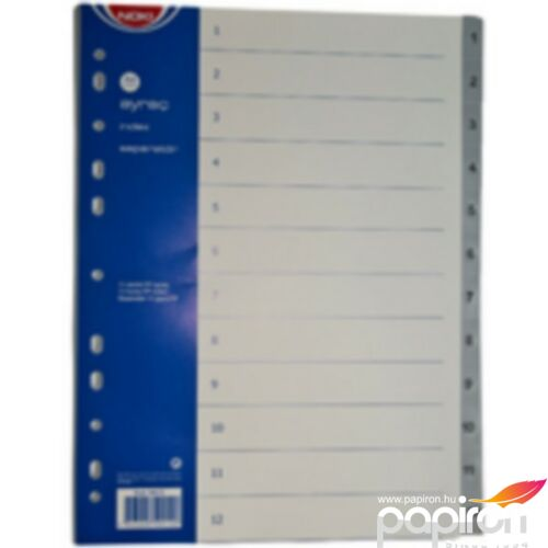 Elválasztó műanyag 1-12 A4 műanyag szürke regiszteres FORNAX